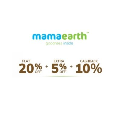 MAMAEARTH Offer Flat 20% Discount + Extra 5% Off + 10% Cashback + CC Cashback