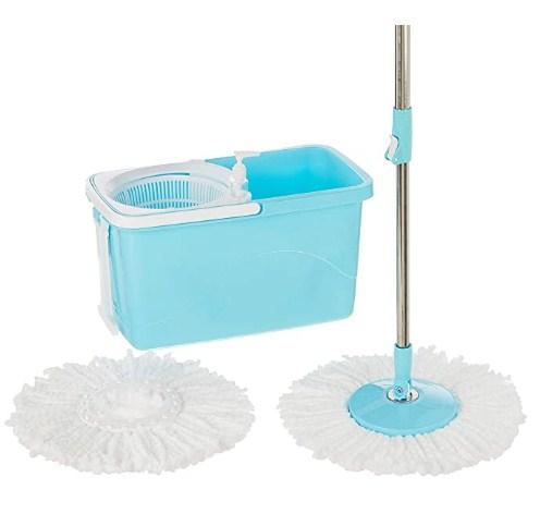 Amazon Brand - Presto! Spin Mop, Rectangular Bucket with Plastic Basket and in-built wheels, 2 Refills @849