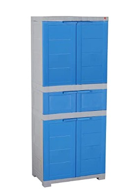 Cello Novelty Triplex Plastic Cupboard with 4 Shelves(Blue and Grey) @4799