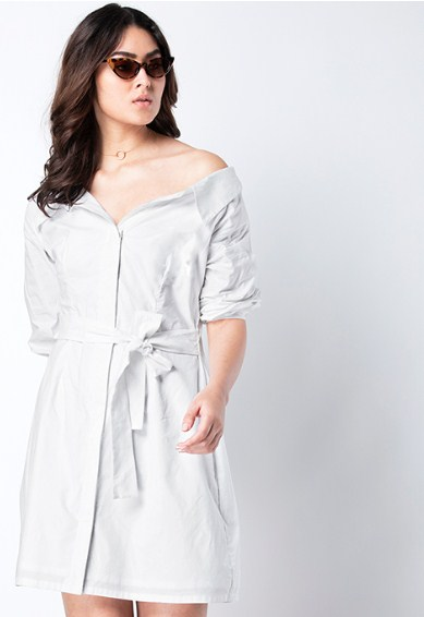 White Off Shoulder Shirt Dress Flat 50% off