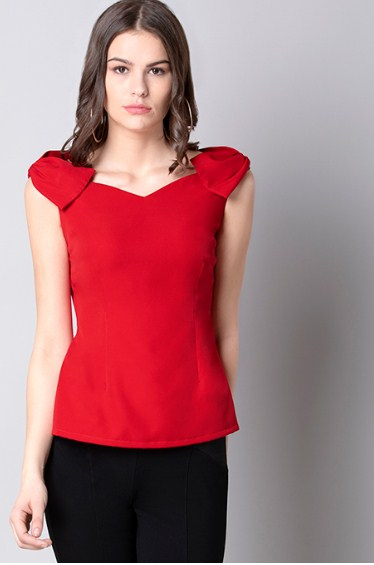 Red Bow Shoulder Bardot Top @750 Rs. Only