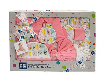 Mee Mee's Pampering Gift Set for New Borns (8 pcs - Print III, Pink) Only for Ru. 699