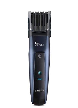 SYSKA HT3050 Corded & Cordless Stainless Steel Blade Trimmer with 50 Minutes Working Time; 10 Length Settings (Blue) @899
