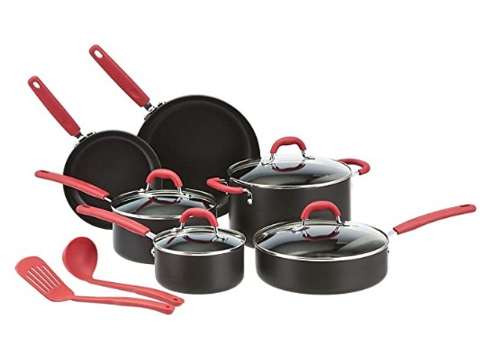 AmazonBasics Hard Anodized Non-Stick 12-Piece Cookware Set, Red - Pots, Pans and Utensils @5059