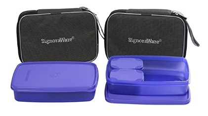 Signoraware Compact Lunch Box with Bag Set, 1.05 litres, Set of 2, Deep Violet @345