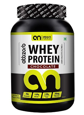Abbzorb Nutrition Whey Protein 26g Protein | 6.9g BCAA -with Digestive Enzymes (Chocolate, 1 Kg) @1599