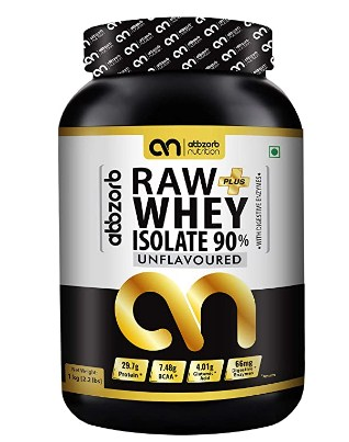 Abbzorb Nutrition Raw+ Whey Isolate 90% 29.7g Protein   7.4g BCAA with Digestive Enzymes 1 kg @1,649