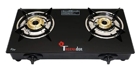 Thermador Toughened Glass Top 2 Burner Gas Stove (LPG, Auto Ignition) @1,649