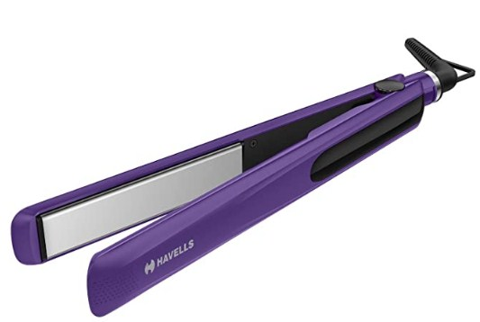 Havells HS4101 Ceramic Plates Fast Heat up Hair Straightener, Straightens & Curls, Suitable for all Hair Types (Purple) @999
