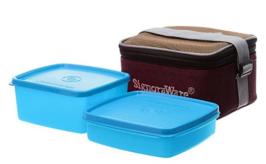 Signoraware Quick Carry Plastic Lunch Box with Bag, T Blue @226