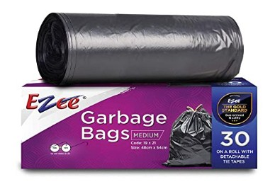 Ezee Plastic Garbage Bag - 19X21 Inch, 90 Piece,medium, Black, 3 Piece @185
