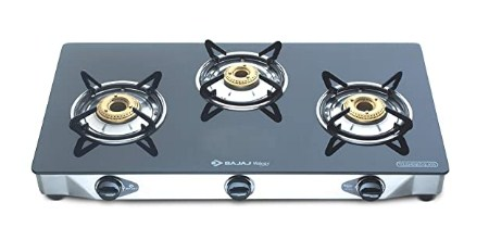Bajaj CGX3, 3-Burner Stainless Steel Glass, ISI Certified, Gas Stove (Black) @3,589