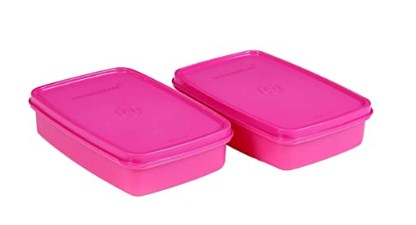 Signoraware Crispy Slim Small Container Set, 550ml, Set of 2, Pink @124
