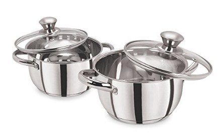 Pristine Stainless Steel Casserole Set With Lid, 1.7L/2.25L, 2 Piece (Silver) @696