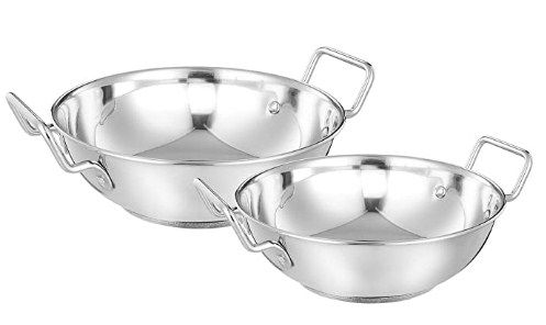 Amazon Brand - Solimo Stainless Steel Induction Bottom Kadhai Set size 22 cm, 27 cm (2 pieces, 2000ml and 3600 ml) @759