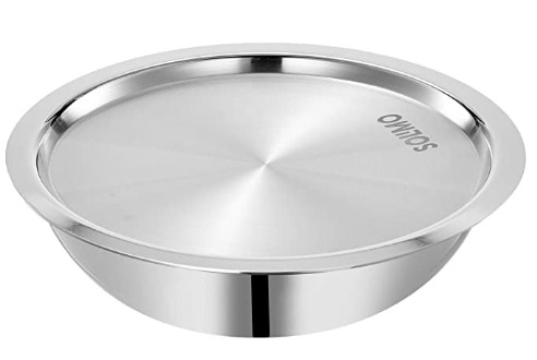 Amazon Brand - Solimo Tri-Ply Stainless Steel Tasla with steel lid @1379