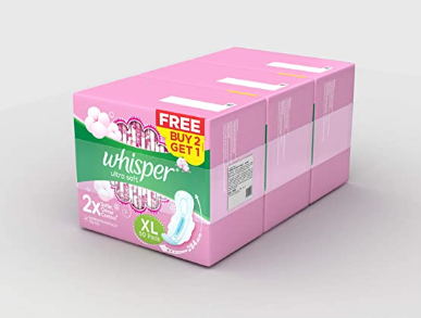Whisper Ultra Soft Sanitary Pads for Women, XL 50 Buy 2 Get 1 Free (150 Napkins) @799 Ru. Only