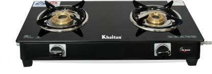 Khaitan 2 Burner BP Nano Premium MS Black Glass Manual Gas Stove  (2 Burners) @1484