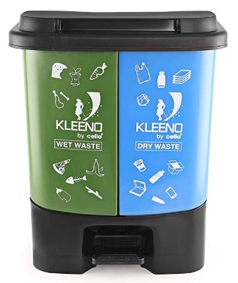 Cello Duo Plastic Pedal Dustbin for Wet and Dry Waste (35 Liters, Green and Blue) @673