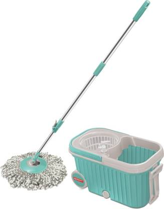 Spotzero by Milton Elite Spin Mop with Bigger Wheels & Auto Fold Handle for 360 Degree Cleaning (Aqua Green, Two Refills) @877