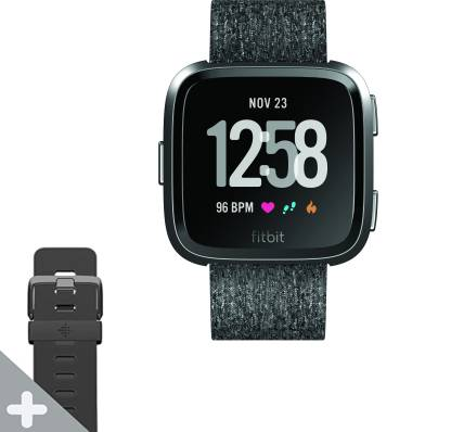 FITBIT Versa Special Edition Smartwatch  (Charcoal Strap, Regular) @7,499