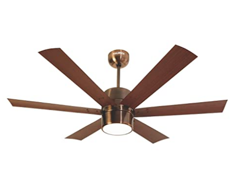 Halonix Hexa Antique 1200mm Ceiling Fan with Built-in 6 Colour LED Light and Remote (Brown) @6499