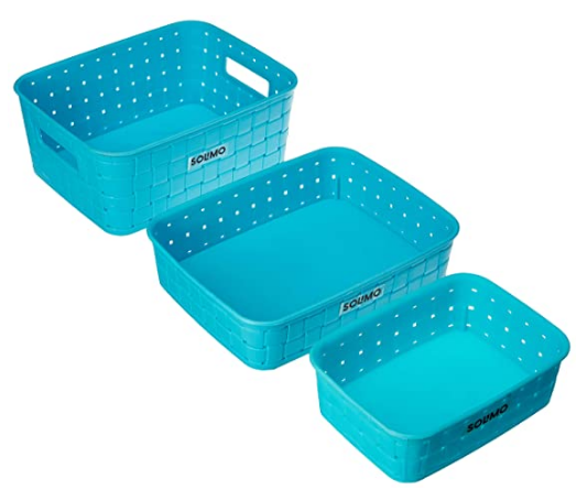 Amazon Brand - Solimo Fruit Basket Set (3 pieces, Blue) @146