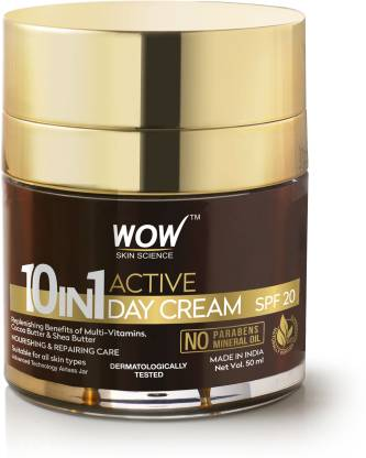 WOW SKIN SCIENCE 10 in 1 Active Miracle Face Cream with SPF 15 PA++ and Infused Shea & Cocoa Butter @360