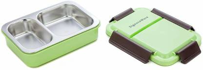 Signoraware Duo Star Steel Green 1 Containers Lunch Box  (750 ml) @625