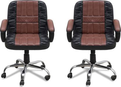 DZYN FURNITURES Leatherette Office Executive Chair  (Brown, Set of 2) Only for 10,990 Ru.
