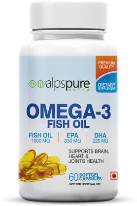 ALPSPURE Omega 3 Fish Oil 1000 mg For Healthy Heart And Joints Health 60 Softgel Capsules  (60 No) @299