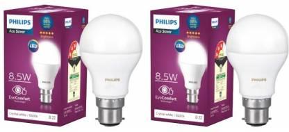 PHILIPS 8.5 W Round B22 LED Bulb  (White, Pack of 2) @159