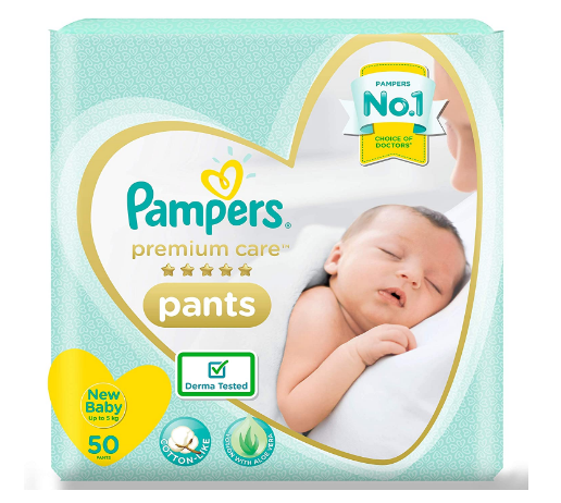 Pampers Premium Care Pants, New Born, Extra Small size baby diapers (NB,XS), 50 count, Softest ever Pampers @524