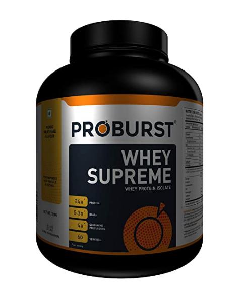 Proburst Supreme Whey Protein Powder With Glutamine & BCAAs 2 Kg |60 Servings | 24 gm Protein Per Serving (Mango Milkshake)@3343