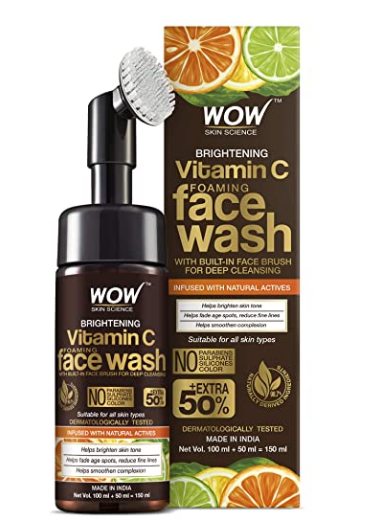WOW Skin Science Brightening Vitamin C Foaming Face Wash with Built-In Face Brush for Deep Cleansing @323