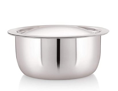 Meera Exclusive Triply Stainless Steel Tope with Stainless Steel Lid, 1.5 Litre, Silver (16 cm) @789