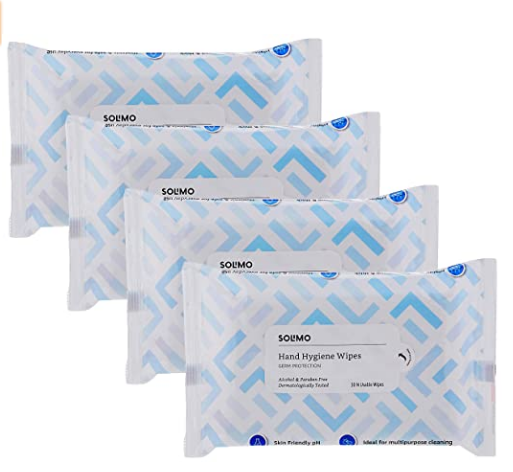 Amazon Brand - Solimo Hand Hygiene Wipes - 30 wipes/pack (Pack of 4) @228