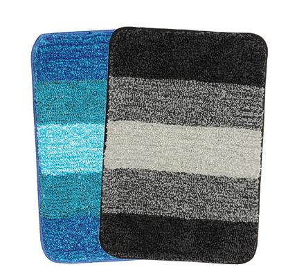 SARAL HOME EASY LIVING Striped Anti-Skid Bath Mat (Turquoise, Black, Microfiber, 35X50 CM) @284