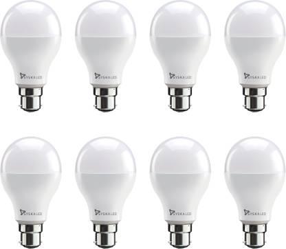 Syska 9 W, 7 W Standard B22 LED Bulb  (White, Pack of 8) Only 689 Ru.