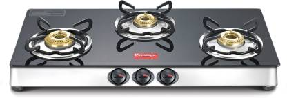 Prestige Marvel LP Gas Table with Glass Top Glass, Stainless Steel Manual Gas Stove  (3 Burners) @5,418