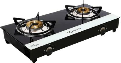 Lifelong Glass Top 2 Burner Gas Stove, Black and White (ISI Certified,1 Year Warranty with Doorstep Service) @1,499