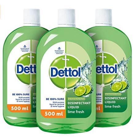 Dettol Liquid Disinfectant Cleaner for Home, Lime Fresh, 500 ml (Pack of 3) @443